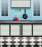 Kitchen room with sink at counter Stock Image