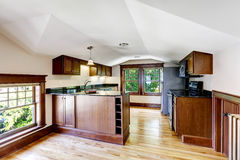 Kitchen room with vaulted ceiling Royalty Free Stock Image
