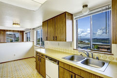 Kitchen room with view of Gig Harbor bridge Royalty Free Stock Photos