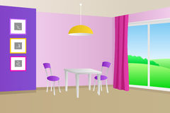 Kitchen room violet pink interior table chair window illustration Stock Photos