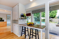 Kitchen room with walkout deck Royalty Free Stock Photography