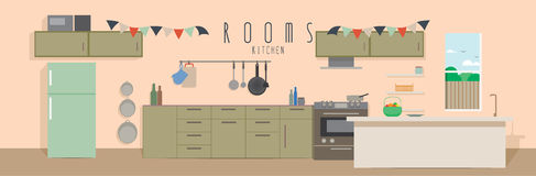 Kitchen (Rooms). Vector illustration of a kitchen Stock Photography