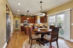 Kitchen with round table. Kitchen in suburban home with round table royalty free stock image