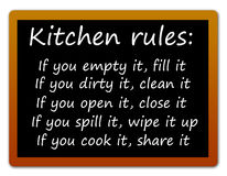 Kitchen rules. Easy and clear rules for when working inside the kitchen Royalty Free Stock Image