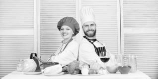 Kitchen rules. man and woman chef in restaurant. Dieting and vitamin. culinary cuisine. vegetarian. cook uniform. Family royalty free stock photo