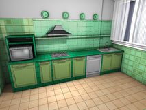Kitchen rustic green Stock Image