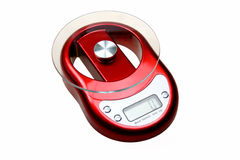 Kitchen scale. A red electronic kitchen scale on white background Royalty Free Stock Photos