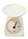 Kitchen scale. On white background Royalty Free Stock Photo