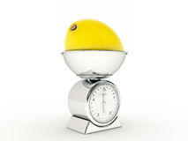 Kitchen scale with giant lemon Stock Images
