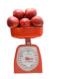 Kitchen scale weighting nectarines Stock Image