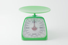 Kitchen scale on a white background. Still life photography Stock Photo
