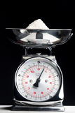 Kitchen scales. Still life of kitchen scales with flour Royalty Free Stock Photo