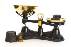 Kitchen scales. Traditional, old-fashioned kitchen scales stock photography