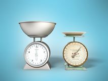 Kitchen scales comparison of old scales new scales 3d render on. Blue background Royalty Free Stock Image