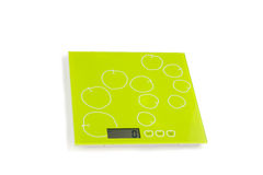 Kitchen scales with electronic dial. On white background Stock Images