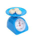 Kitchen scales and garlic  on white backgr Royalty Free Stock Photography
