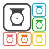 Kitchen scales icons set Stock Photo