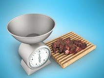 Kitchen scales and meat tenderloin on a white board 3d render on. A blue background Royalty Free Stock Photo