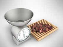 Kitchen scales and meat tenderloin on a white board 3d render on. A gray background Royalty Free Stock Photo
