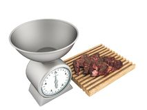 Kitchen scales and meat tenderloin on a white board 3d render on. A white background no shadow Royalty Free Stock Photography