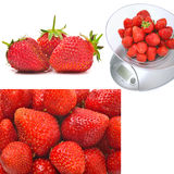 Kitchen scales with ripe strawberries Royalty Free Stock Image