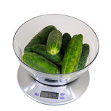 Kitchen Scales With Cucumbers Royalty Free Stock Image