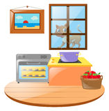 Kitchen scene with cat outside the window Royalty Free Stock Image