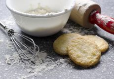 Kitchen Scene with Flour and Sugar Cookies Royalty Free Stock Photo