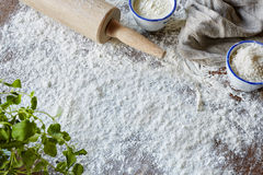 Kitchen scene with a lot of flour Stock Image