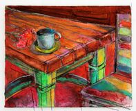 Kitchen Scene. Original Colorful Cafe Painting or Kitchen Still Life Stock Photos
