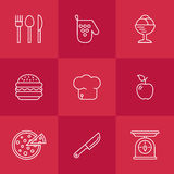 Kitchen seamless pattern. Cookery kitchen icon bast set Royalty Free Stock Photo