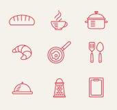Kitchen seamless pattern. Cookery kitchen icon bast set Stock Photos