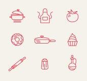 Kitchen seamless pattern. Cookery kitchen icon bast set Royalty Free Stock Photos