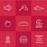 Kitchen seamless pattern. Cookery kitchen icon bast set Royalty Free Stock Photography