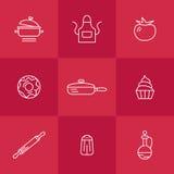 Kitchen seamless pattern. Cookery kitchen icon bast set Stock Image