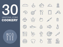 Kitchen seamless pattern 30 icon set Royalty Free Stock Photos