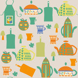 Kitchen seamless pattern and seamless pattern in swatch menu, ve. Ctor image Stock Photo