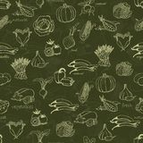 Kitchen seamless pattern with a variety of vegetables. On a dark green background. Vector illustrations Royalty Free Stock Image