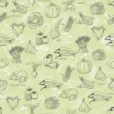 Kitchen seamless pattern with a variety of vegetables on light green background. Vector illustration Stock Image