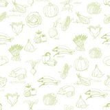 Kitchen seamless pattern with a variety of vegetables on light green background Stock Photo