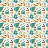 Kitchen seamless pattern. Vector background. Food and kitchen seamless pattern in blue, orange, green and white colors. Retro background with cute icons for stock illustration