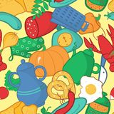 Kitchen seamless pattern, vector illustration in cartoon style Royalty Free Stock Photography