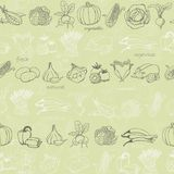 Kitchen seamless pattern with vegetables on light green background. Vector illustration Stock Photography