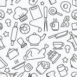 Kitchen seamless pattern. White background with line icons Vecto Stock Images