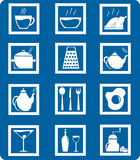 Kitchen set (blue and white) Royalty Free Stock Image