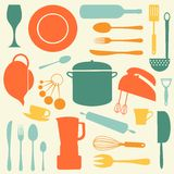 Kitchen set with bright colors Royalty Free Stock Photography