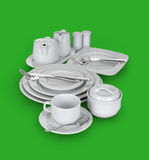 Kitchen set of cups, plates and glasses Royalty Free Stock Photo