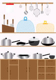 Kitchen Set_eps. Illustration of kitchenware elements, cabinet and blank calender page Royalty Free Stock Photo