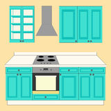 Kitchen Set icon. On the yellow background. Vector illustration Royalty Free Stock Images