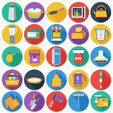 Kitchen set icons in flat style. Big collection of kitchen vector illustration symbol. Royalty Free Stock Photo